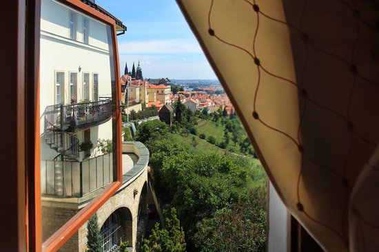 View from our restaurant. Prague Castle is just steps from Questenberk hotel Prague.