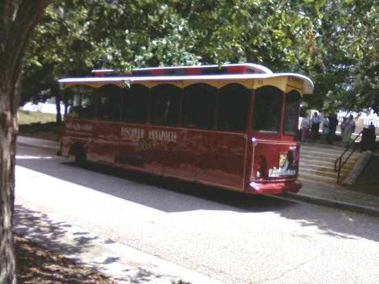 Discover Annapolis Tours: Trolley stop at WW2 Memorial overlook.