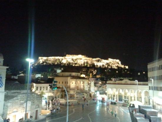 A for Athens: nighttime view from our room