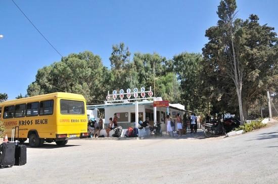 Krios Beach Camping: Η είσοδος με το ένα από τα δύο πούλμαν τους