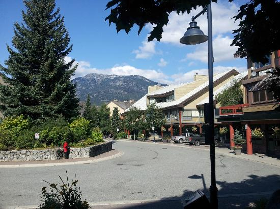 Mountainside Lodge: View from front entrance - village to the right