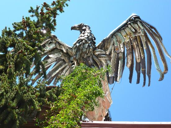 Tyrolean Lodge: Eagle Sculpture atop the chimmney