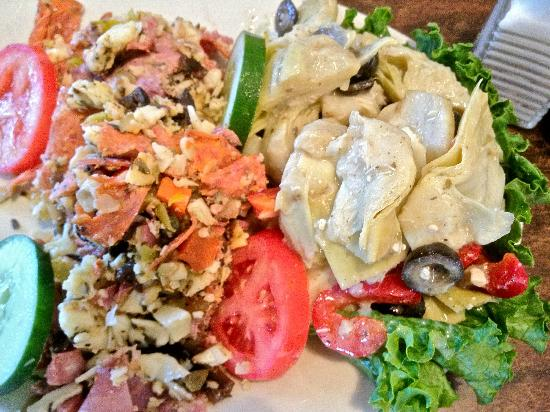 New Yorker Deli & Pizzeria : The antipasto and marinated artichoke salads.