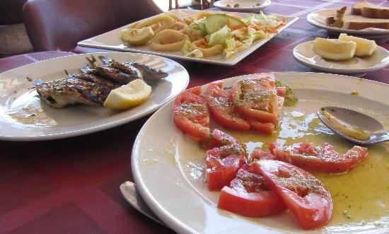 La Marina: Teensie sardines, plump squid and luscious tomato salad