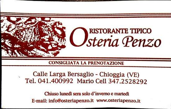 Biglietto da visita Osteria Penzo