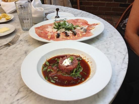 Lindey's: tartare and carpaccio at lunch