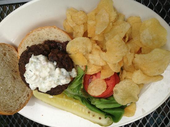 General Sutter Inn: Beautifil Lamb Burger with Tzatziki