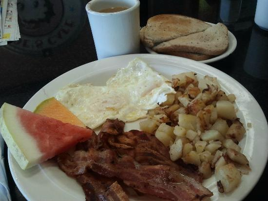 Joe's Cafe: Piping hot coffee, crispy bacon, medium well eggs, delish home fries and lightly toasted rye...