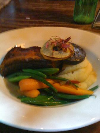 Unicorn Inn : Slow roasted belly pork, with apple black pudding and mash