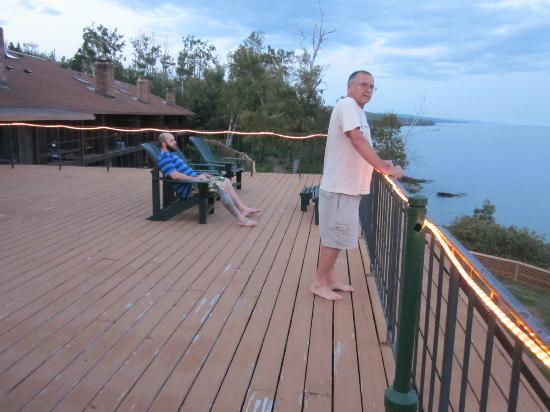 Chateau LeVeaux on Lake Superior: Large Deck off  Lobby, Overlooking Lake