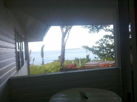 The Bay House: View from bed in the Palm Room