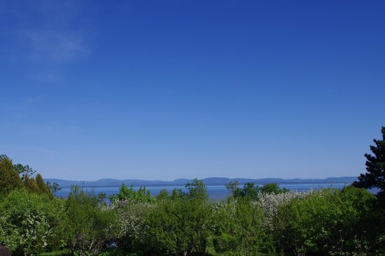 La Halte du Verger:                   another from Yves' deck over his garden and the St Lawrence River