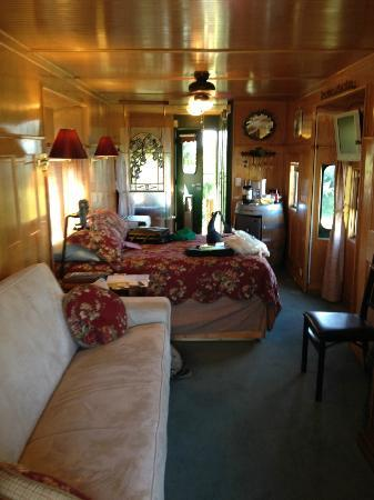 Red Caboose Getaway: Interior of the Grape Escape caboose