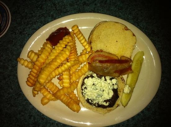 Big A's On The Riverfront: tiny burger on a small bun.