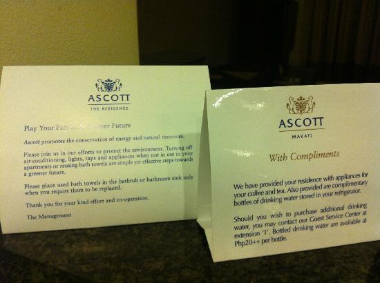 Ascott Makati: letter from ascott