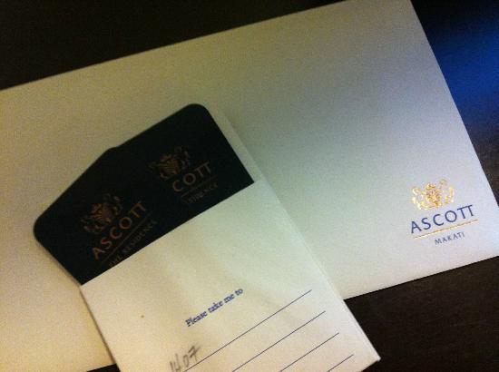 Ascott Makati: room key