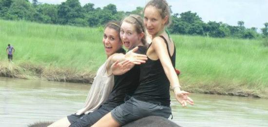The Hub, Lazimpat: Elephant bath by our guests in Chitwan National Part