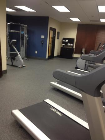 Hampton Inn & Suites Edgewood/Aberdeen-South: weight room. you cant see the pool but its through the glass.