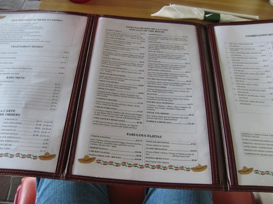 El Tequila Mexican Restaurant: Menu Section