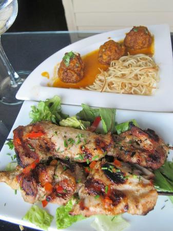 M'ocean : Turkey Kofta Masala $9 (top) and Moroccan Chicken Skewers $9