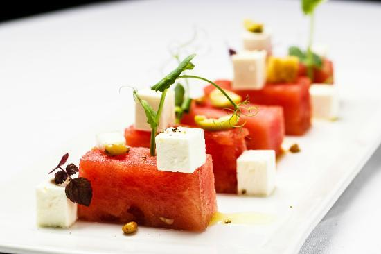 Screaming Eagle: Salad with watermelon, feta cheese, olive, cucmber, pine nuts and affilla cress
