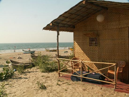 Coco huts at PN's Place shack at Mandrem Beach