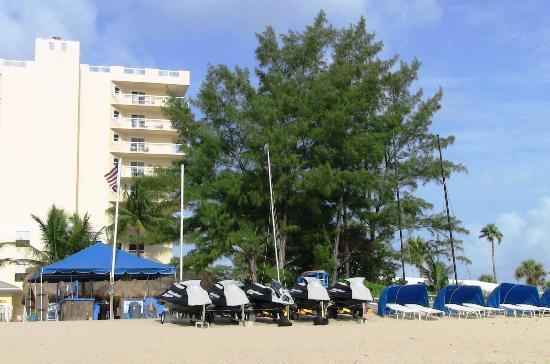 Wyndham Royal Vista: rental tent and wave runners and more cabanas with lounge chairs