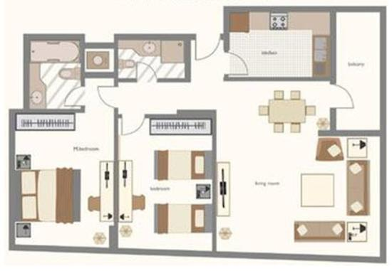 Two bedroom apartment sample floor plan picture of time for Apartment hotel plans
