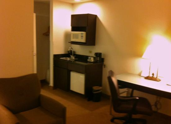 Holiday Inn Express Hotel & Suites Chicago-Deerfield/Lincolnshire : The kitchenette - microwave, sink, and mini fridge