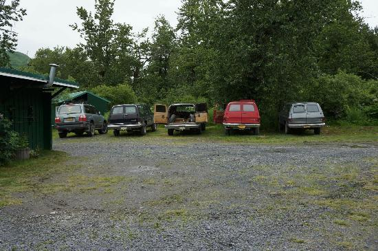 "Saltery Lake Lodge: The ""Workhorses"" (SUV's that take you around to different parts of the river)"