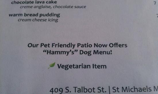 Ava's Pizzeria & Wine Bar: They have a dog menu!
