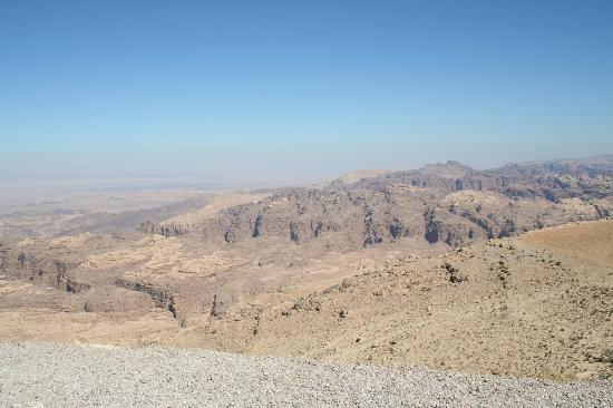 Boat Trip Sharm El Sheikh to Petra : The view over the range from the rest stop in Jordan