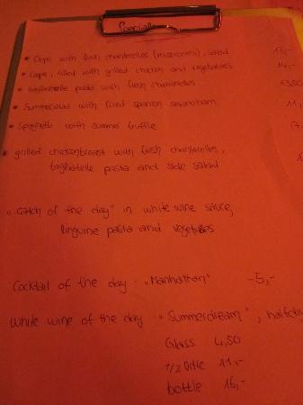 Twenty-One: menu items