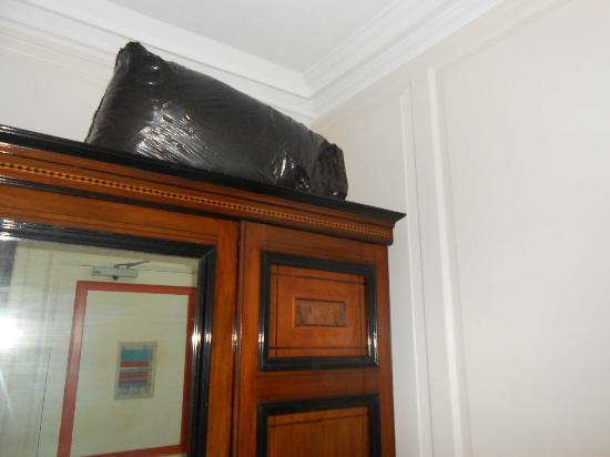 Wrea Head Hall: Room 16 black bin bag on wardrobe
