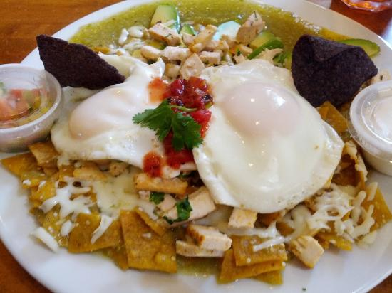 Burnt Toast: Chilaquiles available Mon-Fri only.