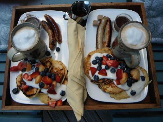 Ardtara Luxury Cottages: lemon ricotta pancakes served on our deck