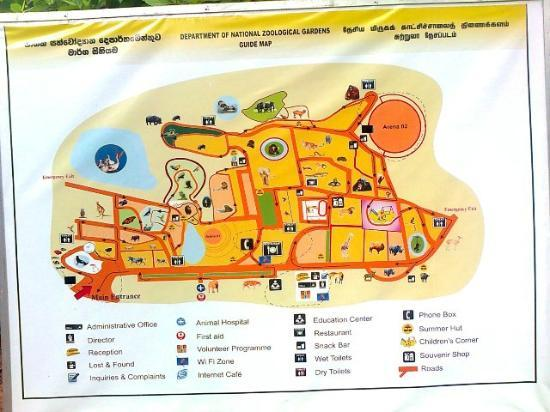National Zoological Gardens of Sri Lanka: Map of Dehiwala zoo