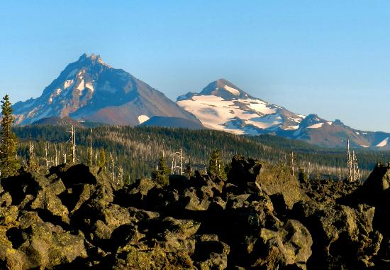 McKenzie Pass-Santiam Pass loop: View of the North and Middle Sisters Amidst the Lavafields