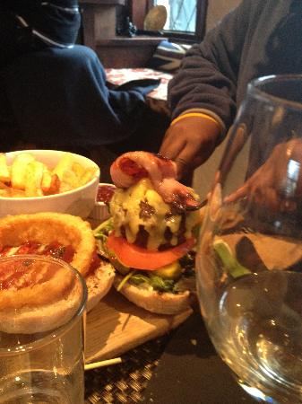 Wilson Arms: Huge burger (with the top off)