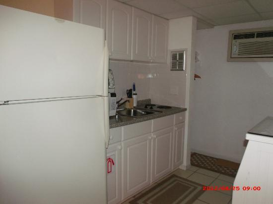 Hamilton House Condominiums: Kitchen with full size fridge- Closet next to kitchen