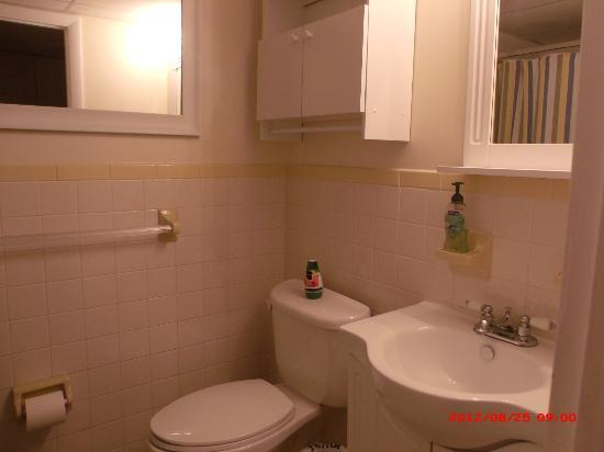 "Hamilton House Condominiums: Bathroom- Includes a large ""medicine cabinet"" with towel rack over the toilet"
