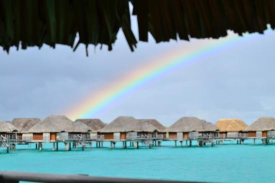 Four Seasons Resort Bora Bora: Double rainbow vied from our bungalow