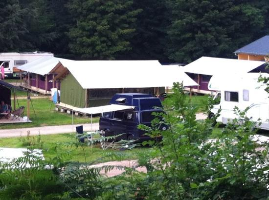 Flower Camping la Chênaie : Some of the 'permanent tents' and touring pitches