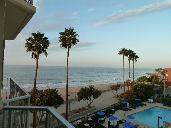 Crowne Plaza Ventura Beach: From Room 402. Just below is the pool and firepit seating area.