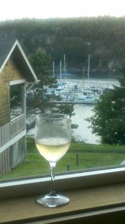 WorldMark Deer Harbor: Looking at Deer Harbor Marina With Wine from cabin.