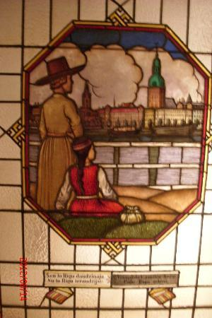 Museum of Decorative Art and Design: Stained glass picture of Riga (permanent exhibit)