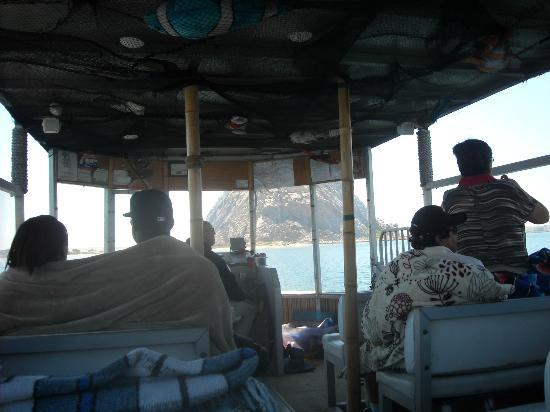 Bay Cruisers - Lost Isle Adventure Tours : Sitting inside the boat, the rock right in front of us.