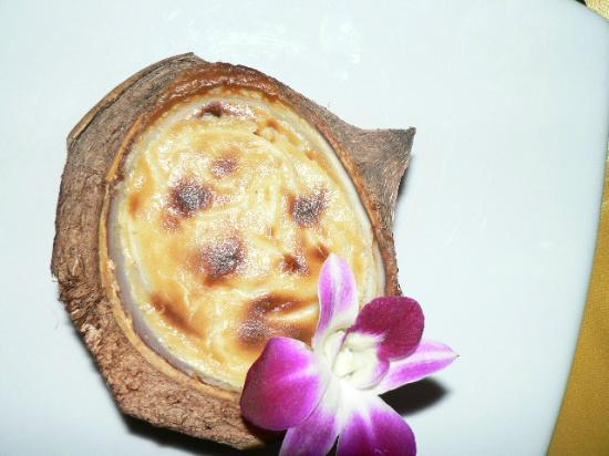 Andaman White Beach Resort : a coconut creme brulee in it's shell - delicious