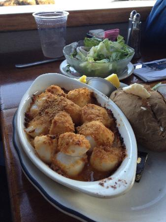 The Barnacle : baked scallops with baked potato and small salad