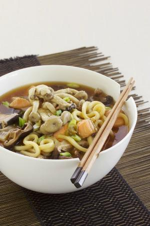 Sacred Chef Cooking School: miso udon noodles with funghi